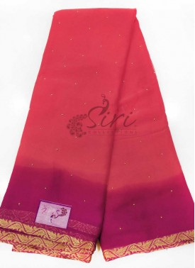 Gajri Pink Magenta Georgette Saree in Small Gold Beads