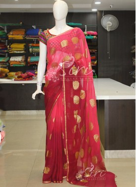 Gajri Pink Maroon Shaded banarasi Georgette Saree