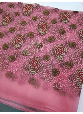 Gajri Pink Net Fabric in Embroidery Work