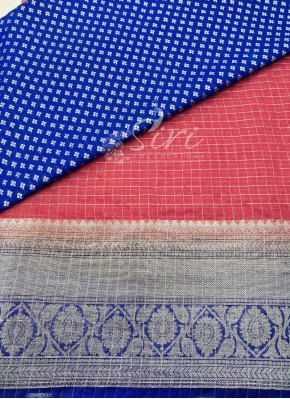 Gajri Pink Organza Lehenga and Blue Banarasi Silk Blouse Fabric Set