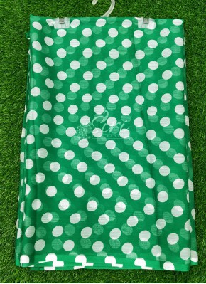 Garden Vareli Nara Chiffon Saree in Green Colour Polka Dots Design