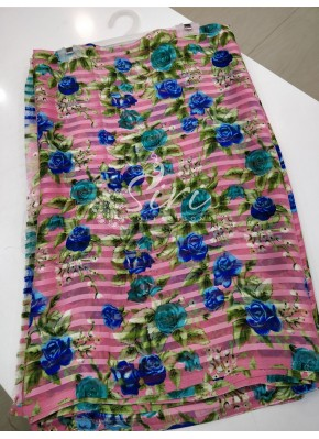 Garden Vareli Printed Brasso Saree in Pink base with Multi Colour Floral Design