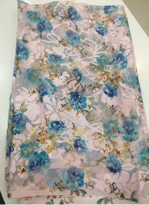 Garden Vareli Printed Brasso Saree in Powder Pink and Prussian Blue