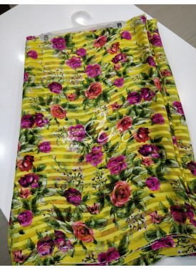Garden Vareli Printed Brasso Saree in Yellow Multi Colour Floral Design
