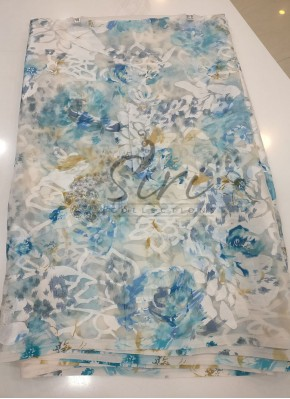 Garden Vareli White Printed Brasso Saree in Teal Blue Grey
