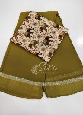 Georgette Saree in Satin Borders With Digital Print Blouse Fabric