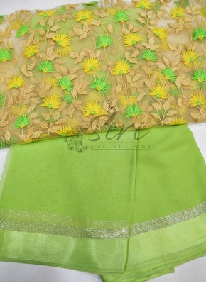 Georgette Saree in Satin Borders With Embroidery Work Blouse Fabric