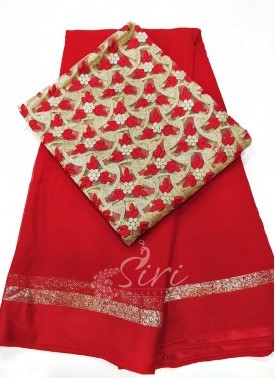 Georgette Saree in Satin Borders With Embroidery W