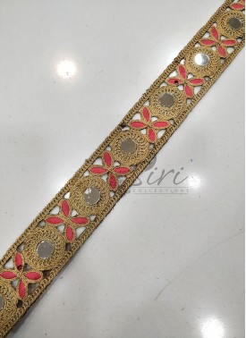 Gold and Gajri Pink Cording and Mirror Cut Work Border Lace