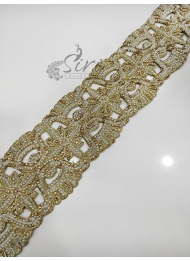Gold Border Lace in Embroidery Stone and Moti Cut Work