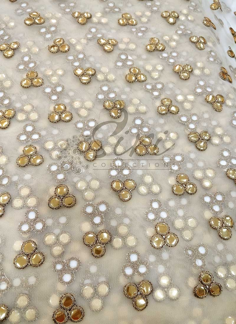 Gold Colour Net Fabric in Fancy Gold Mirror Embroidery Work by Meter