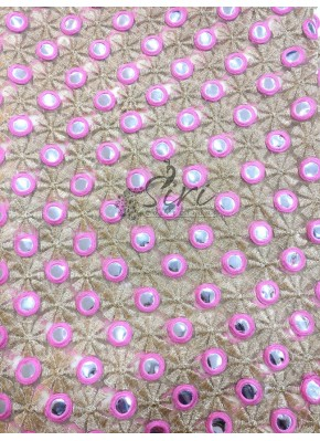 Gold Colour Net Fabric in Mirror and Embroidery Work by Meter