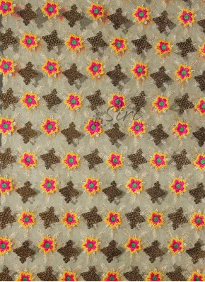 Gold Colour Net Fabric in Multi Colour Embroidery Work by Meter
