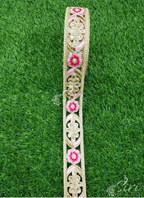 Gold Cut Work Lace Trim Border with Stone and Thread Work
