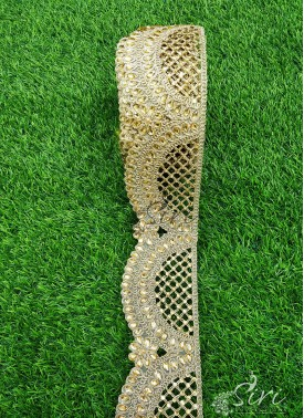 Gold Cut Work Lace Trim Border with Stone Work