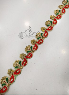 Gold Green Red Stone and Cut Work Saree Lace Border