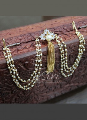 Gold Micro Polish Hair Accessory Fashion Jewellery in Fancy Pearls