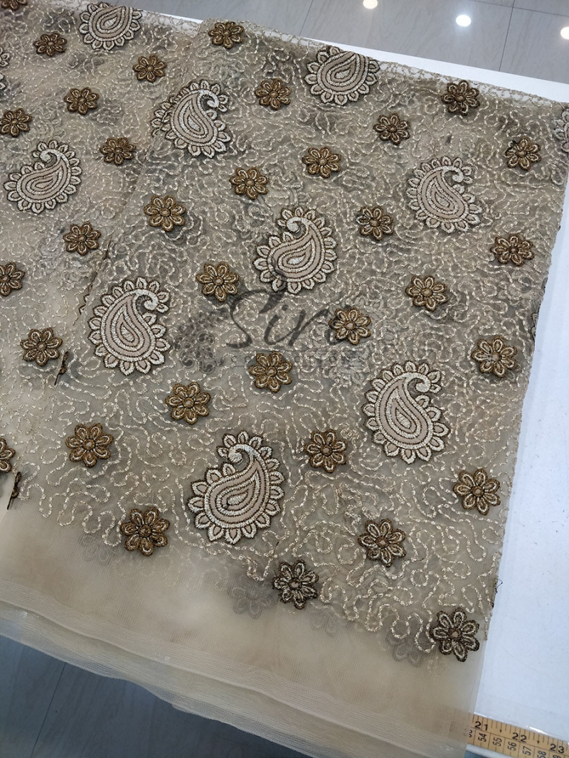 Gold Net Fabric in Antique Gold Embroidery Work Per Meter