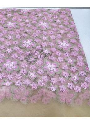 Gold Net Fabric in Baby Pink Sequins and Embroidery Work Per Meter