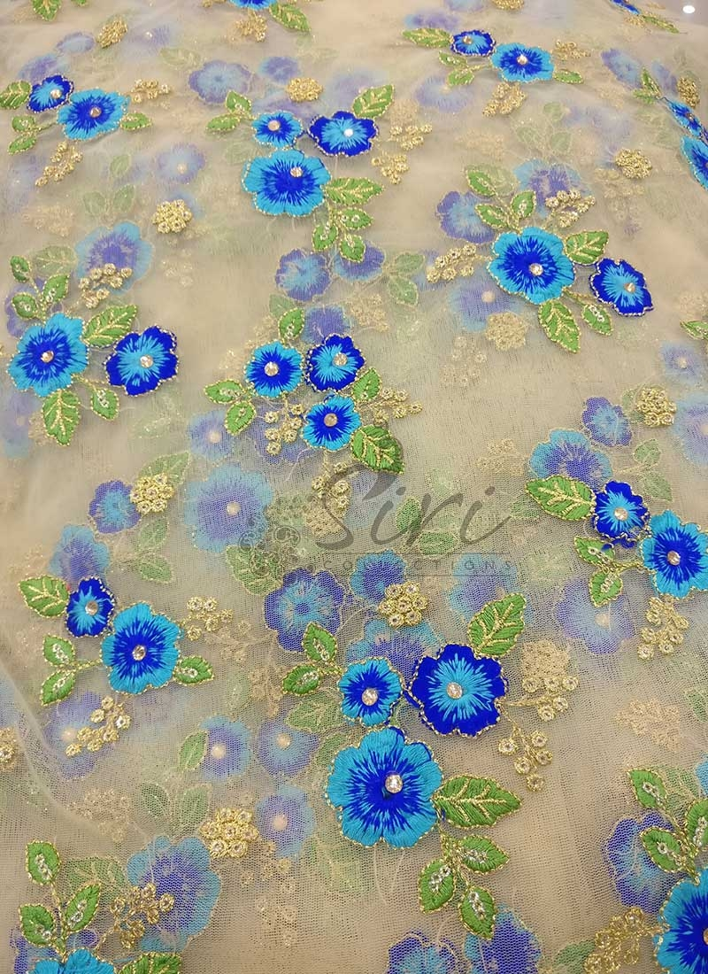 Gold Net Fabric in Blue Embroidery and Sequins Work Per Meter