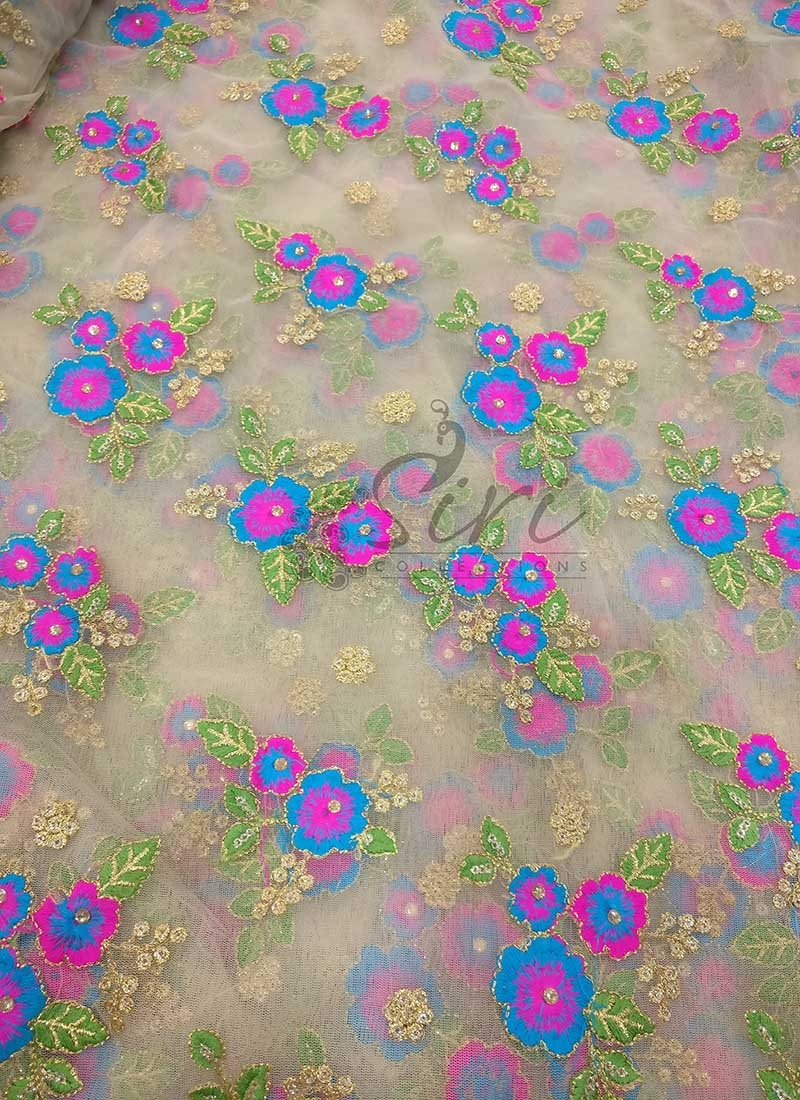 Gold Net Fabric in Blue Magenta Pink Embroidery and Sequins Work Per Meter