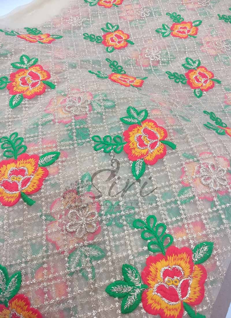 Gold Net Fabric in Gold Red Green Yellow Embroidery Work Per Meter