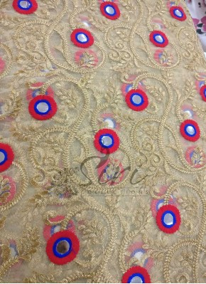 Gold Net Fabric in Gold Zari Embroidery Work and Red Blue Mirror Work Per Meter