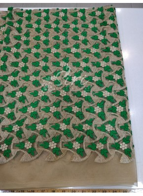 Gold Net Fabric in Green Gold Embroidery Work Per Meter