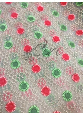 Gold Net Fabric in Green Red Gold Embroidery Work by Meter