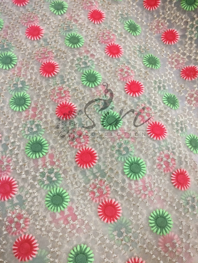 Gold net fabric in green red embroidery work by meter