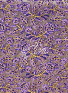 Gold Net Fabric in Lilac and Purple Embroidery Work by Meter