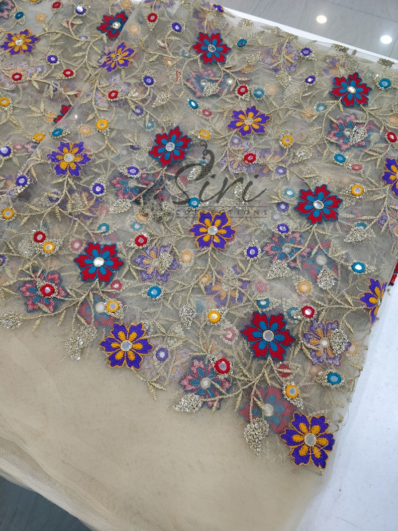 Gold Net Fabric in Multi Colour Embroidery and Mirror Work Per Meter