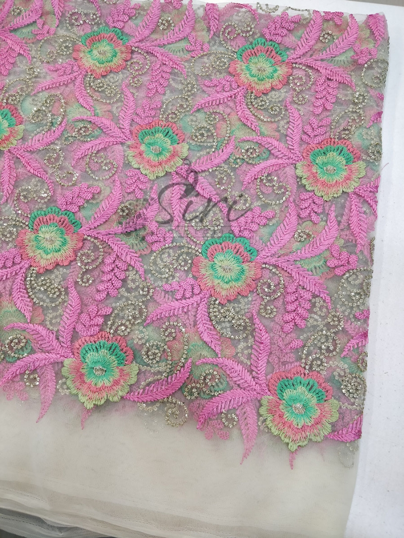 Gold Net Fabric in Multi Colour Embroidery Work Per Meter