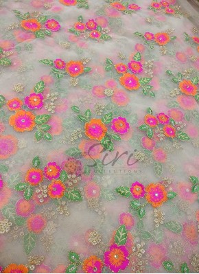Gold Net Fabric in Orange Pink Embroidery and Sequins Work Per Meter