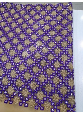Gold Net Fabric in Purple Gold Embroidery and Mirror Work Per Meter