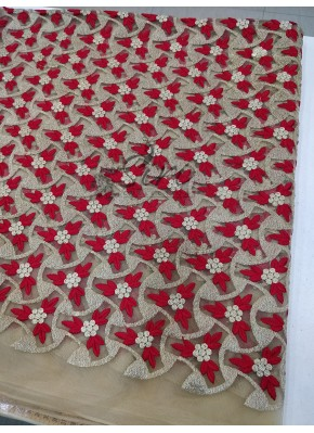 Gold Net Fabric in Red Gold Embroidery Work Per Meter