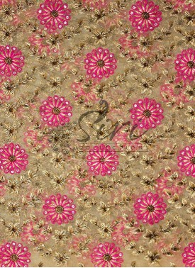 Gold Net Fabric in Sequins and Gold Pink Embroidery Work by Meter