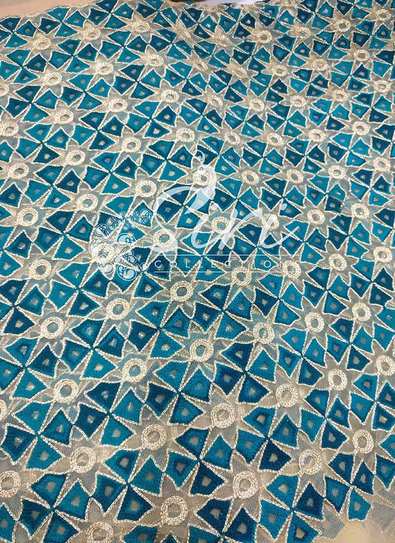 Gold Net Fabric in Teal And Gold Embroidery Aari Work Per Meter