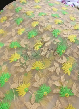 Gold Net Fabric in Yellow Green Embroidery Work Per Meter