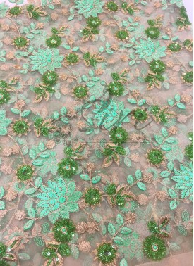 Gold Net in Pastel Green Embroidery and Sequins Work By Meter