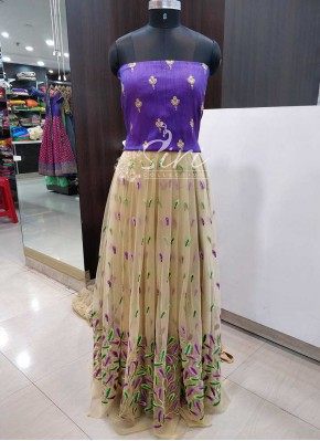 Gold Net Lehenga Fabric and Purple Raw Silk Crop Top Fabric Set