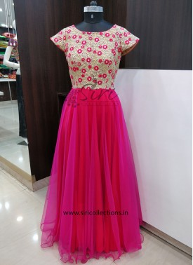 Gold Pink Red Lovely Designer Long Frock