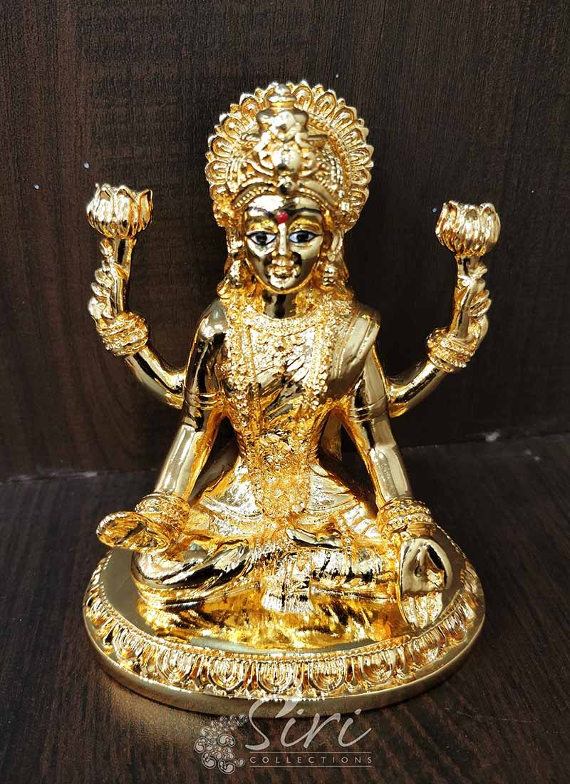 Gold Plated Goddess Lakshmi Idol