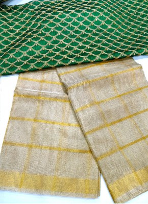 Gold Pure Tissue Kota Saree in Self Checks