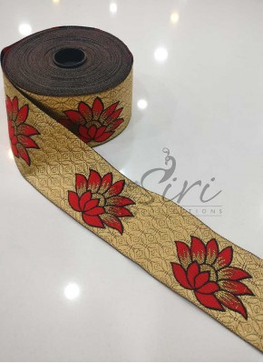 Gold Red Fancy Jacquard Saree Border Lace