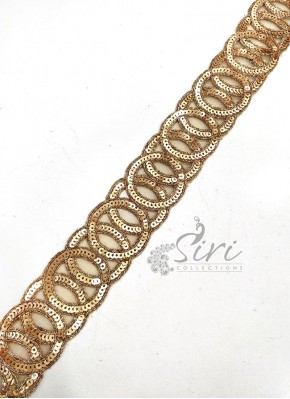 Gold Sequins Cut Work Lace Trim Border