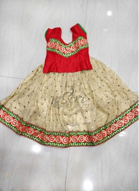 Gold Shimmer Georgette Lehenga Red Raw Silk Blouse Set for 3 Year Old