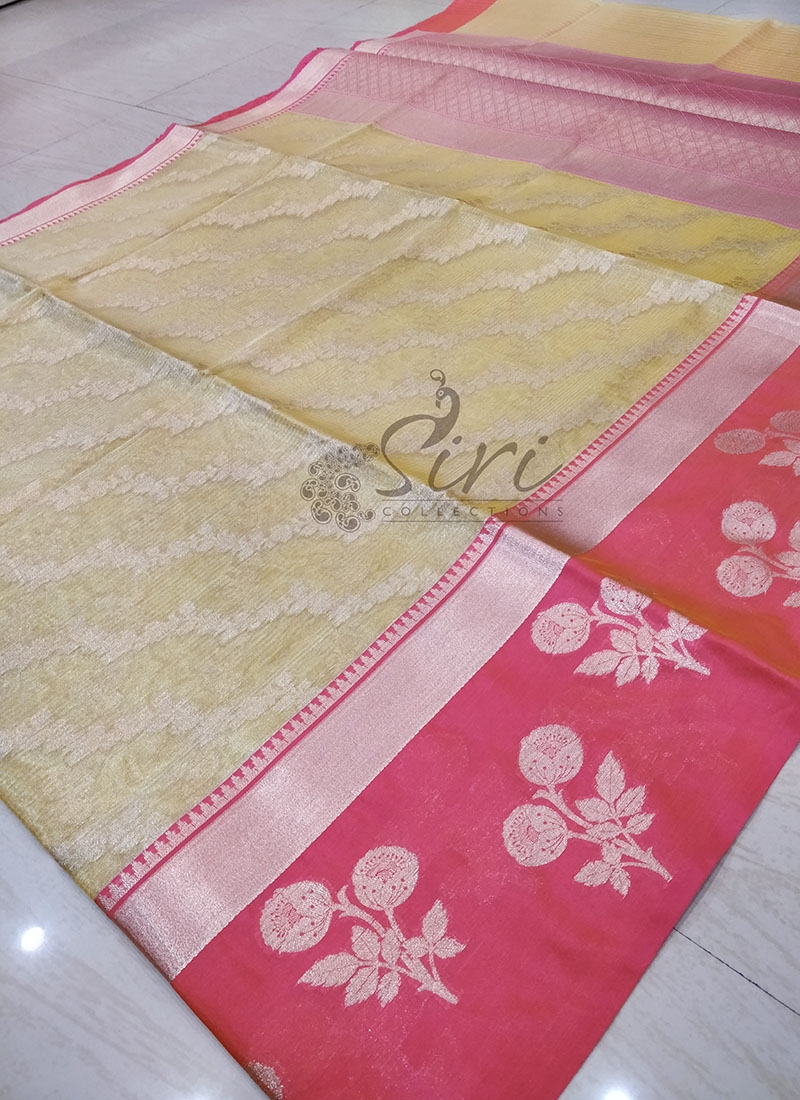 Gold Silver Thin Stripes Jaal TIssue Saree in Contrast Border