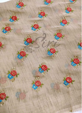 Gold Soft Jute Fabric in Embroidery Work and Stone