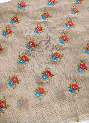 Gold Soft Jute Fabric in Embroidery Work and Stone Work Per Meter